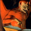 quillori: demon pointing to a passage in a book (subject: devil & book, theme: devil quoting scripture)