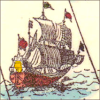 quillori: illustration of a ship from an old map (stock: sailing ship, theme: boats, subject: ship)