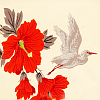 quillori: picture of a flying crane and flowers (stock: crane and flowers)