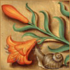 quillori: illustration of a lily and a snail from the Grandes Heures d'Anne de Bretagne (stock: lily and snail)