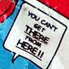 elfin: image: candy wrapper; text: you can't get there from here!! (fringe.quote get there from here)