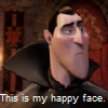 lighterthanair: Dracula, from Hotel Transylvania (grumpy, this is my happy face, bad day)