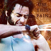 "jain: Wolverine (X-Men movie version) with claws extended. Text: ""Use this pain"" (x-men)"