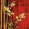 jain: Bamboo and yellow flowers against a red background. (bamboo)
