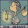 arduinna: a tarot-card version of Linus from Peanuts, carrying a lamp as The Hermit (hermit)
