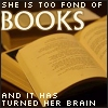 "aella_irene: ""She is too fond of books, and it has turned her brain"" superimposed over an open book (too fond of books)"