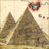 quillori: detail of the pyramids from an old map (country: egypt, theme: travel (egypt), subject: pyramids, theme: history (egypt))
