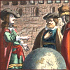 quillori: three men stand discussing a large globe (theme: travel (plans), theme: discussion)