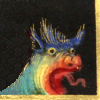 quillori: detail of a beast with a shocked expression, from a Book of Hours (mood: shocked/surprised)