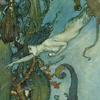 quillori: illustration of a mermaid underwater from an edition of The Little Mermaid (diving (illustration))
