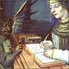 quillori: old illustration: a man (possibly a saint?) writes in a book, while a devil looks on (mood: you won't like what I'm writing, theme: writing (writer & devil))