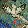 quillori: detail from a mosaic of a bird stepping forward from a mosaic (stock: mosaic bird, theme: setting out)