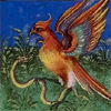 quillori: illustration of a bird overcoming a snake (stock: bird & snake, mood: victorious, theme: argument)