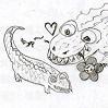 martyna: 2 crocodiles with a Blümchen (angst, crocodile)