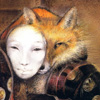 quillori: painting of a fox-spirit with a human mask (theme: masks (fox), onmyouji: fox & mask, subject: fox (masked))