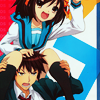 shamera: haruhi: sitting on Kyon (haruhi: bop to the top!)