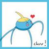 tyger: A surskit with a heart above it.  Text: chuu! (pokémon - surskit)