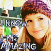 meloukhia: Veronica Mars in a cute pullover hat with text reading 'I know. I'm Amazing.' (amazing)