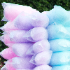 majoline: Purple, pink and blue bags of cotton candy on a stick. (Fluff)