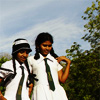 bossymarmalade: sri lankan schoolgirls on steps (thick white polish on our shoes)
