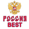 "puckling: The Cyrillic name for Russia followed by ""Best"" in red text over a white background with the Russian crest above it (Russia Best)"