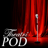 "theatripod: picture of a microphone on a stage in front of red curtains; text in lower left-hand corner says ""Theatripod"" (Default) (Default)"