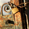 sofiaviolet: metal gate secured with chain and padlock (do not enter)
