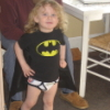 ricevermicelli: Small child in Batman shirt, cape, and underpants (Superhero)