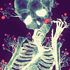outlineofash: Illustration of a skeleton surrounded by small red flower buds. Artist unknown. (Artwork - Neon Skeleton)