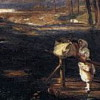 tiamatschild: Painting of a woman resting on a bridge railing - she has a laundry bag beside her (Default)