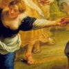 tiamatschild: Painting of a woman dancing a circle dance - she is smiling, her hand outstreched (Woman in Blue Dancing)