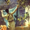 tiamatschild: A painting of a woman in a chiton hanging washing on a line (Hanging the Washing Out to Dry)