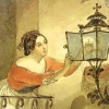tiamatschild: A painting of a woman leaning over a railing to set a candle in a lamp (Everyday Devotion)
