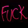 "randomling: The word ""FUCK"" in pink on a black background. (fuck)"