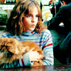 dear_prudence: hermione granger holding her cat crookshanks (harry potter: hermione and crookshanks)