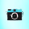 raanve: Lomo Camera: Diana mini on blue background (Camera: Diana Mini)
