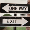 thecolourclear: an arrow pointing <-- one way. and another arrow pointing --> exit,  (general: one way exit)