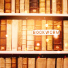 seriousmoonlight: bookshelf with books, and the text bookworm (bookworm)