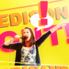 """goodbyebird: Community: An energetic Annie with a microphone in her hand, """"Edison out!"""" (Community Edison out!)"""