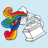 juniperphoenix: Drawing of a phonograph emitting rainbow swirls of sound (phonograph killed the music-hall star)