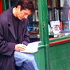 juniperphoenix: Methos reading in front of Shakespeare & Co. (HL: Methos)