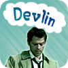 devlin: Castiel has a bubble thought that reads Devlin. Background is light blue. (Devlin Castiel)