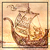 quillori: drawing of a Viking ship (theme: boats (viking), subject: ship (drawing), stock: sailing ship (drawn))