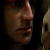 gtfostalker: A thin-faced man in a hood looking to the left, seeming sullen (Hollowed Out)