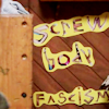 "eldritch_panda: The words ""screw body fascism"" are cut out and pinned to a wall. It's from the tv show Huge. (screw body fascism)"
