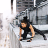 snottygrrl: hawkeye on the ledge (hawkeye ledge by universaldogma)