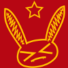teapot_rabbit: Cartoon rabbit head with >_< face, with a star above. Rabbit and star are gold on a red bg, to mimic communist symbols. (Wabbit_communist)