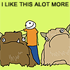 "littlemousling: Cartoon of person with two creatures (""alots""), says ""I like this alot more."" (things I like)"