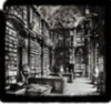 ifreet: Black and white picture of a vaulted library (dream of books)