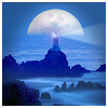 laeria: Tiny faraway lighthouse and behind it the rising moon. (lighthouse of quests)